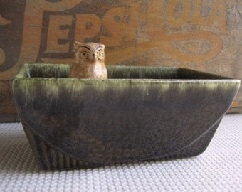 Vintage Art Deco Style Green Ceramic Planter
