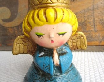 Vintage Mid Century Christmas Decoration Angel in Blue Candle Holder by Wolin Japan