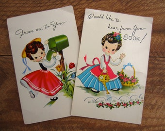 Vintage Lil Honeys Sweet Girls with Flowers 1950s 1960s Postcards