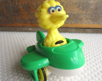 Vintage Big Bird in Green Plane Sesame Street Toy Figure by illco Muppets
