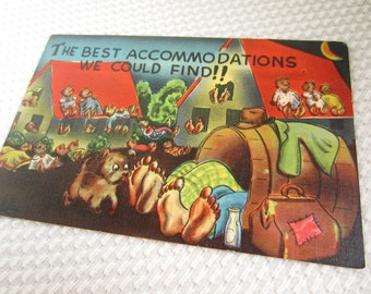 Vintage 1950s Best Accomodations We Could Find Vacation Humor Cartoon Postcard Linen Unused