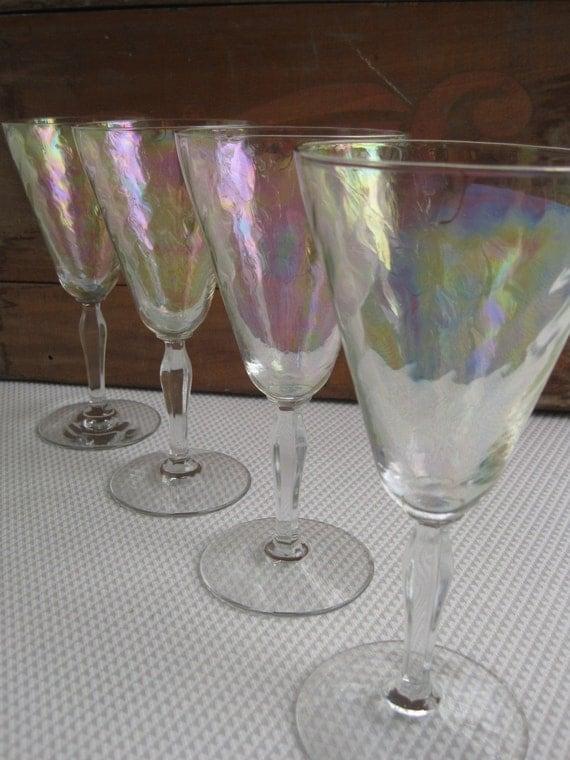 Vintage Iridescent Swirl Optic Stem Glasses By Fostoria