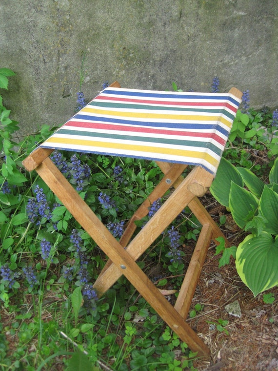 Vintage Canvas And Wood Folding Camp Stool