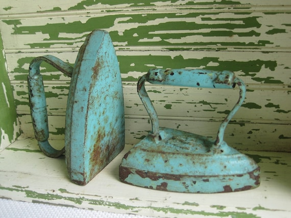 Antique Cast Iron Clothes Iron - pair of number 7 Chippy Aqua
