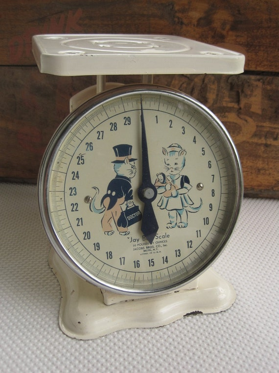 Vintage 1940s 1950s Baby Nursery Scale Jay  By Jacobs Brothers Company