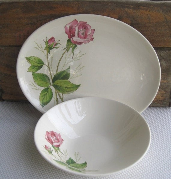 Vintage Tea Rose Serving Platter and Serving Bowl Edwin Knowles 1950s