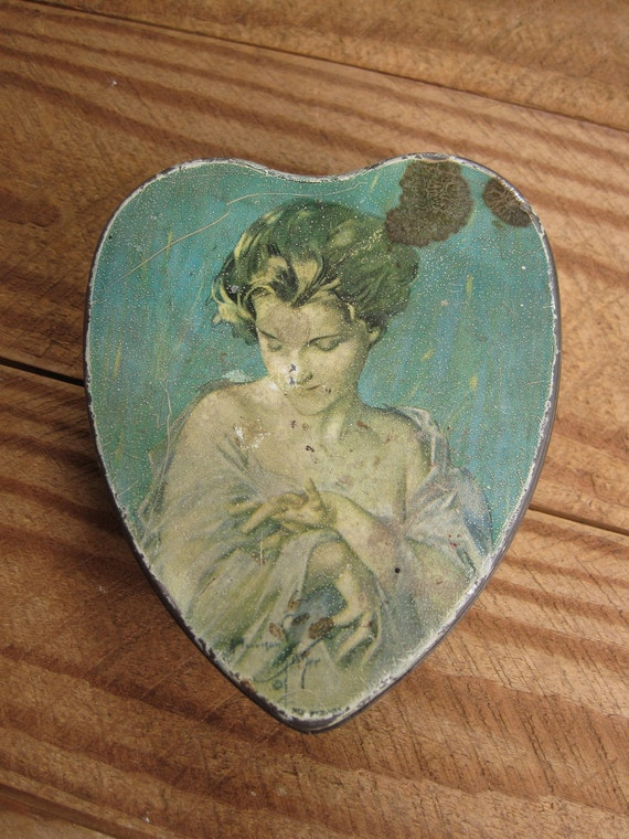 Reserved Vintage 1920's The Pledge by Harrison Fisher Tindeco Hinged Heart Tin Valentine Romance