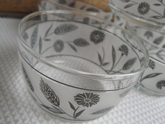 Vintage Frosted Glass Bowls Wheat and Flower Design Libbey Glassware