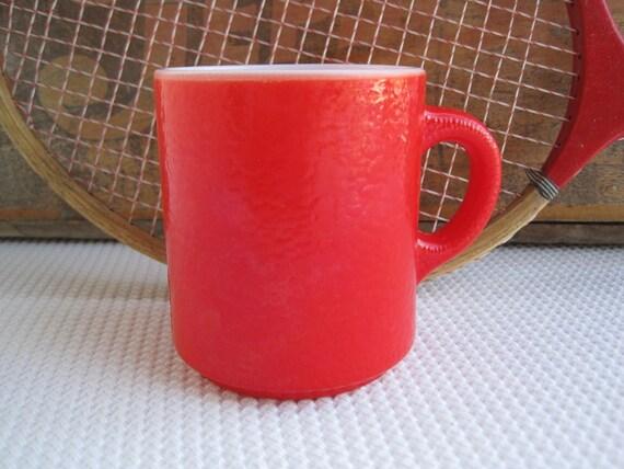 Vintage Red Fired On White Milk Glass Mug