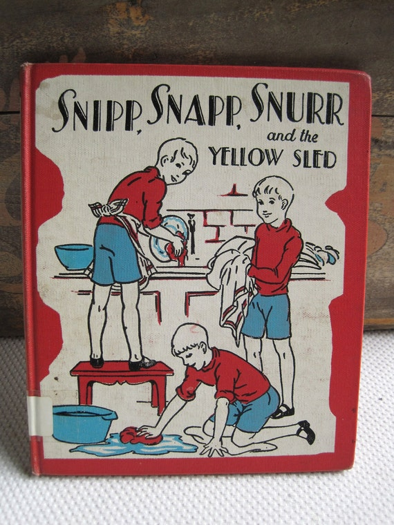 Vintage 1936 Snipp Snapp Snurr and the Yellow Sled