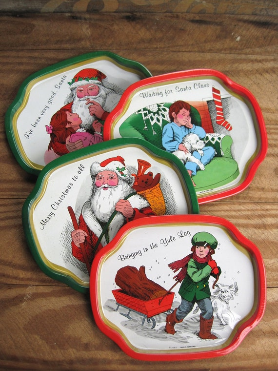 Vintage Christmas Holiday Tin Trays made in Hong Kong