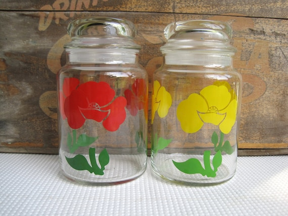 Vintage Yellow and Red Flower Glass Jar Canisters with Air Tight Seal