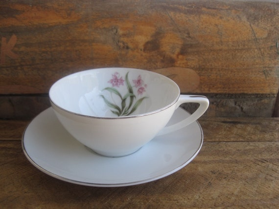 Vintage Pink Orchid China Cup and Saucer Made in Japan Grantcrest