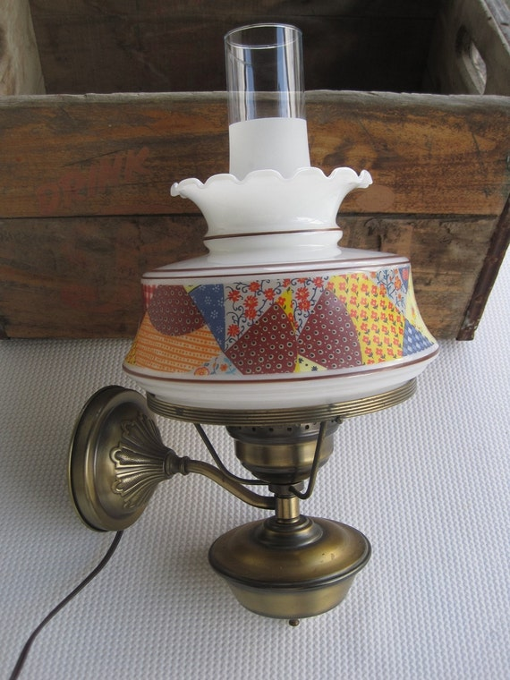 Reserved Vintage Electric Wall Lamp Hurricane Style With
