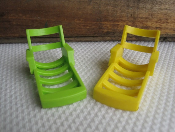 Vintage Fisher Price Little People Lounge Chairs in Yellow and Green