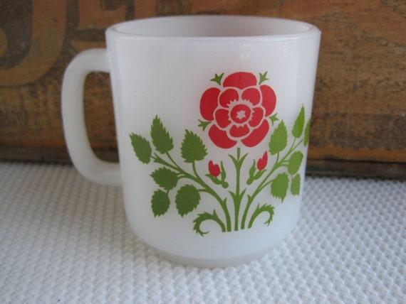 Vintage Red Flower Green Leaves Milk Glass Mug