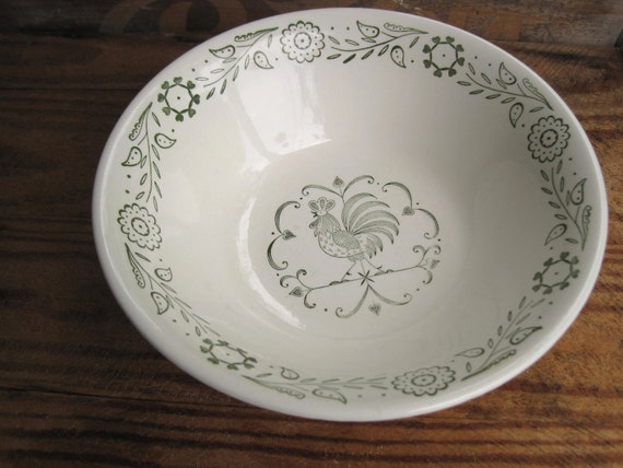 Vintage 1960s Rooster in Green Scio by Provincial Vegetable Bowl