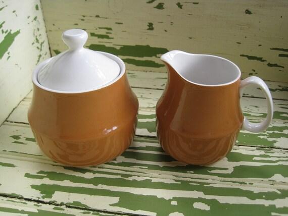 Vintage Ceramic Guild Esperanto Sugar and Creamer in Orange - Butterscotch