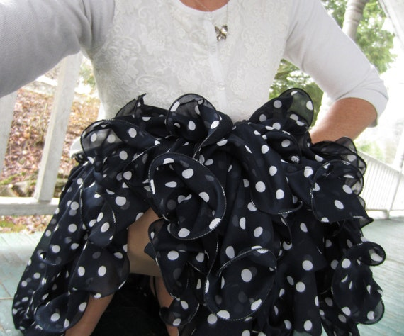 Vintage Navy Polka Dot with Ruffled Fish Line Hem Mimmina Skirt made in Italy