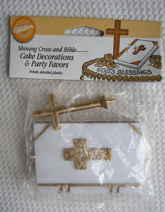 White Bible and Gold Cross Plastic Cake Party Decoration Wilton Altered Art Assemblage