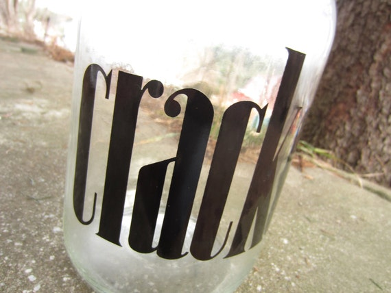 Vintage Large Crackers Glass Jar with Screw Top Lid