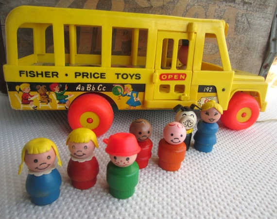 Vintage 1965 Fisher Price School Bus Loaded with Wooden People and Dog