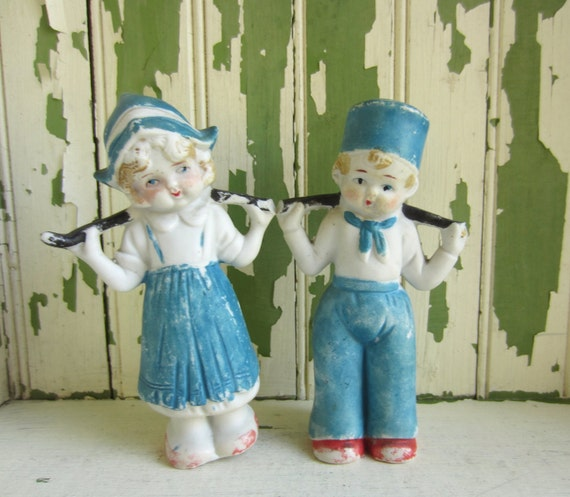 Vintage Dutch Girl and Boy Bisque Figurines Made in Japan
