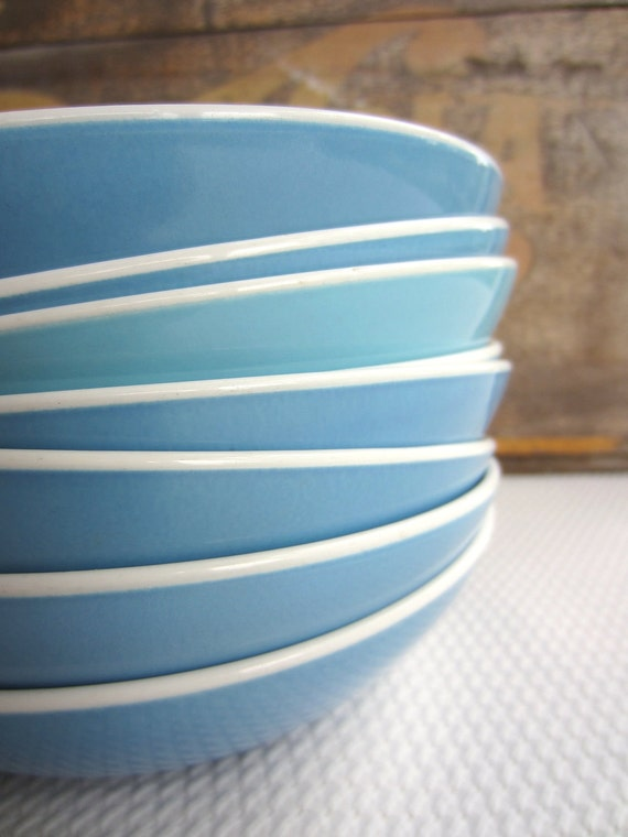 Vintage Blue Centura By Corning Coupe Cereal Bowls set of 8