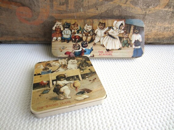 Vintage Tins The Cats Academy and The Wrong Class Pencil Box
