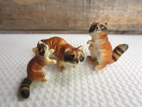 Vintage Raccoon Figurines Tiny set of 3