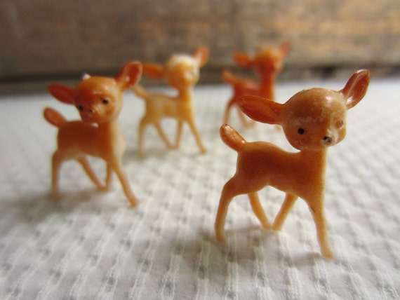 Reserved Vintage Tiny Deer Miniature Fawn Plastic Animal Figure made in Hong Kong