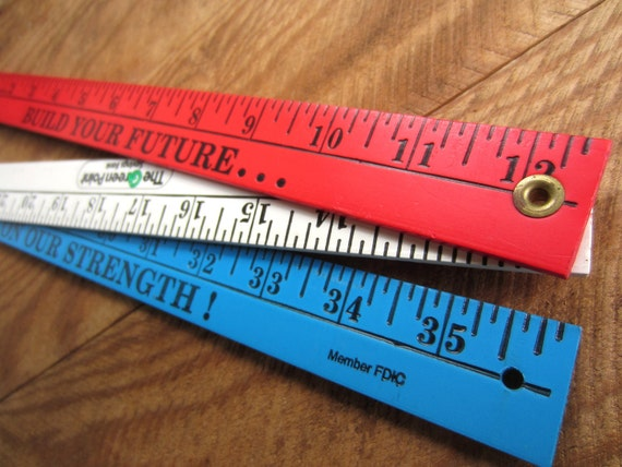 Vintage Tools Old Red Wood Level and Red White and Blue Folding Yard Stick Bank Ruler