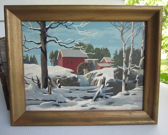 Vintage Paint by Number Winter River Country Farm Landscape Framed Picture