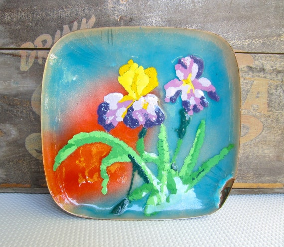Vintage Iris Painted on Enameled Copper Plate Display Home Decor