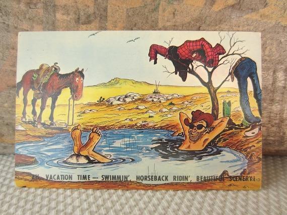 Vintage Ace Reid Cowpokes Western Vacation Humor Cartoon Postcard Unused