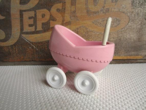 Vintage Little Tikes Pink Baby Buggy Pram Stroller Dollhouse