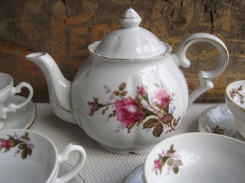 Vintage Royal Rose By Fine China Of Japan Tea Set Teapot