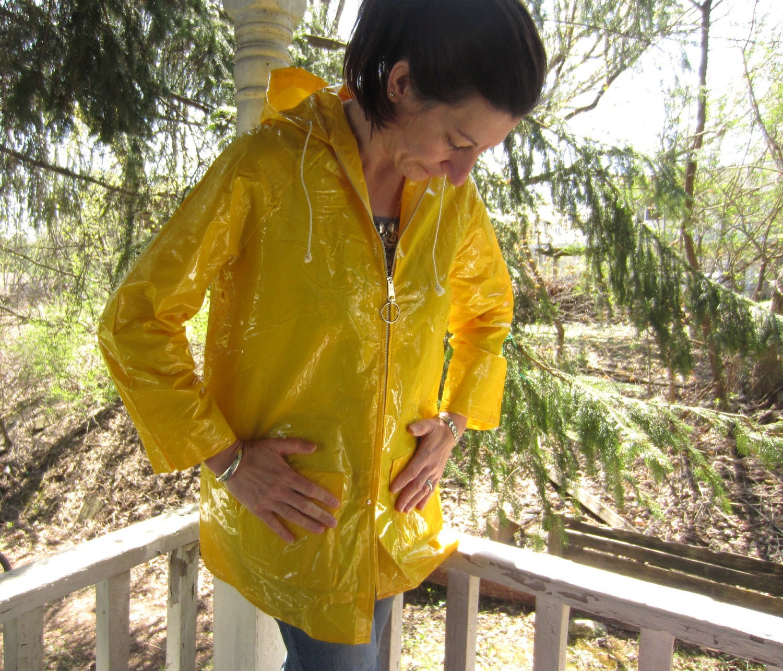 Vintage Raincoat Shiny Yellow Rain Coat by Betmar Hong Kong