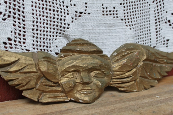 Vintage Cherub Wood Carving