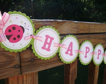 Sweet Little Ladybug Banner - Pink & Green - Ladybug Birthday Banner, Ladybug Baby Shower Banner