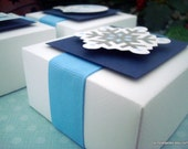 Winter Wonderland Party Favor Boxes, Blue and White, (6) Reserved for Laura