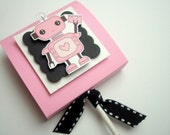 Pink Robot Valentine Lollipop Party Favors with Personalized Tags, Set of Ten
