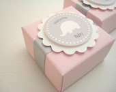 Custom Elephant Favor Boxes, Pink and Gray, Set of Ten