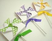 Polka Dot Pinwheel Lollipop Favors, You Choose the Color, Set of Ten