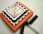 Happy Halloween Lollipop Party Favors, Orange and Black Polka Dot, Set of Ten