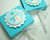 Snowman Lollipop Favors, Turquoise and Silver, Set of Ten