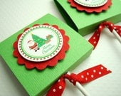 Merry Christmas Lollipop Favors, Green and Red, Set of Ten