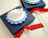 Whale Party Favors, Navy Blue and Red, Set of Ten