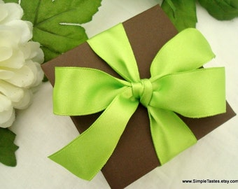 Wedding Favor Box, Chocolate Brown with Green Satin Bow