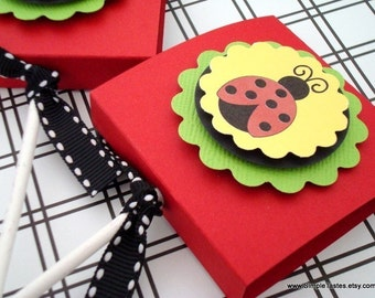 Ladybug Lollipop Party Favors, Red and Yellow, Set of Ten